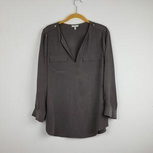 Joie Med Silk Split Neck Long Sleeve Blouse Tunic